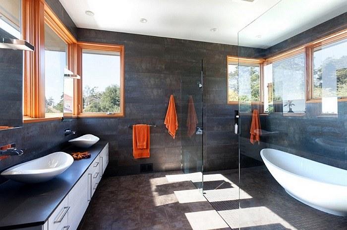 imagenes baños con ducha banera toques colores ideas