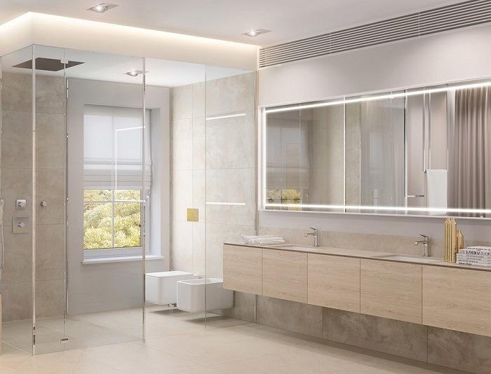 Baños Con Ducha Negra:imagenes baños con ducha espejos grandes lavabo madera ideas