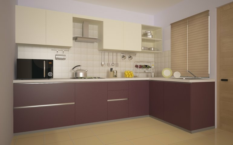 Cocinas peque as en forma de l cincuenta dise os for Kitchen design nepal