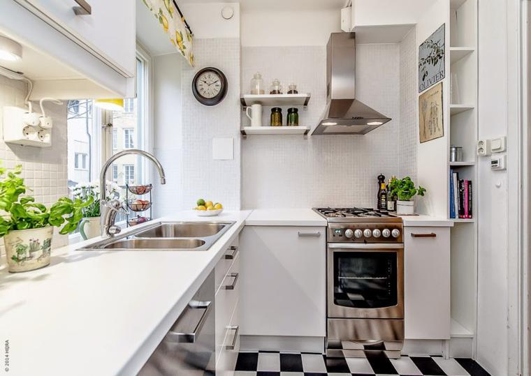 bonita cocina moderna decorada plantas