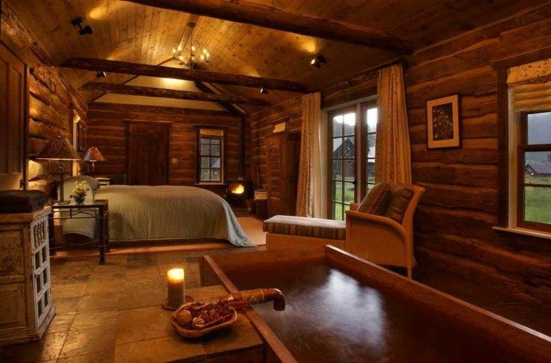 interiores de caba as de madera y piedra