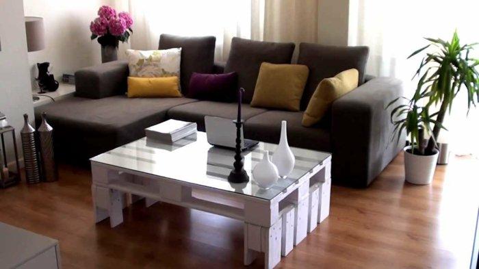 mesa salón pallet blanca