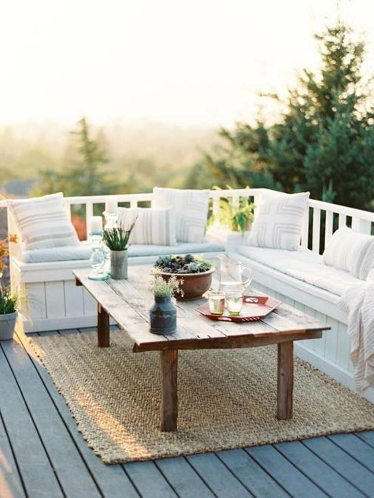 bonita terraza banco integrado blanco