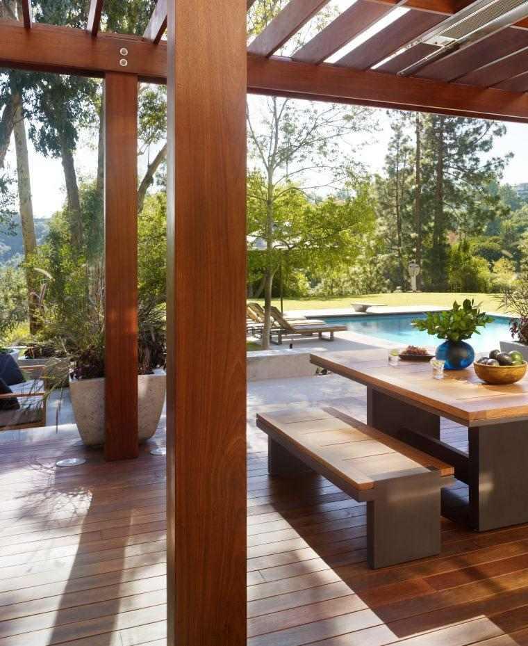 terraza cubierta madera natural