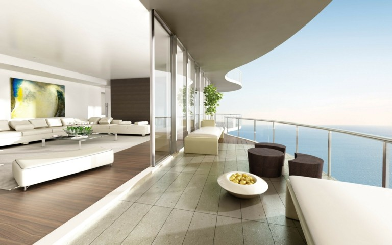 bonita terraza moderna lujosa minimalista