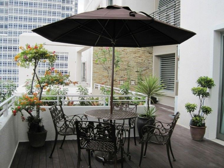 bonita terraza para sol plantas