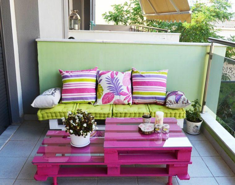 bonito diseño muebles pallet cojines colores
