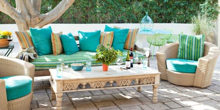 Telas para terrazas 50 acolchados y tapizados para exterior - Cojines de jardin ...