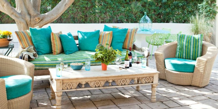 bonito diseño cojines jardin turquesa