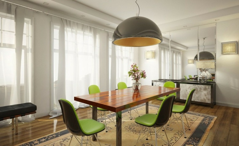 bonito diseño comedor moderno cortinas