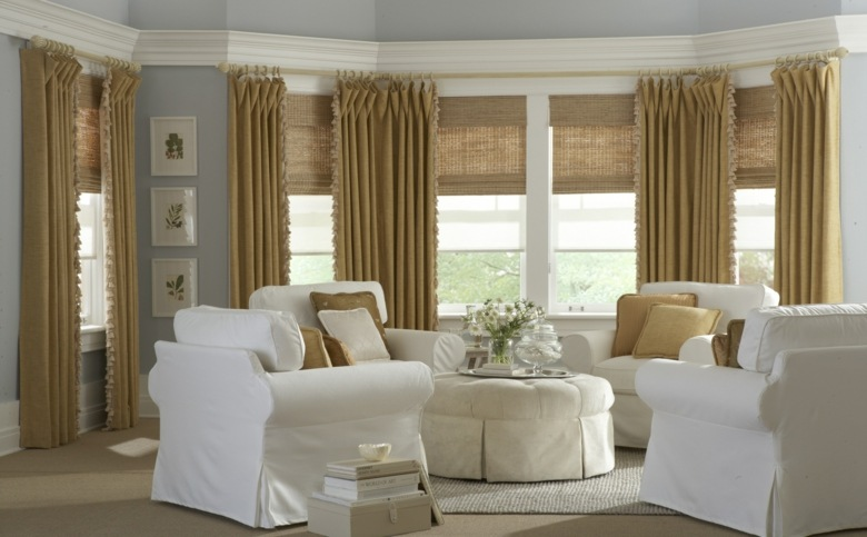 bonito diseño conjunto cortinas mostaza