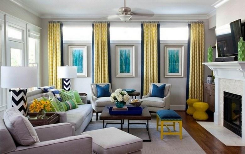 bonito diseño cortinas comedor amarillas
