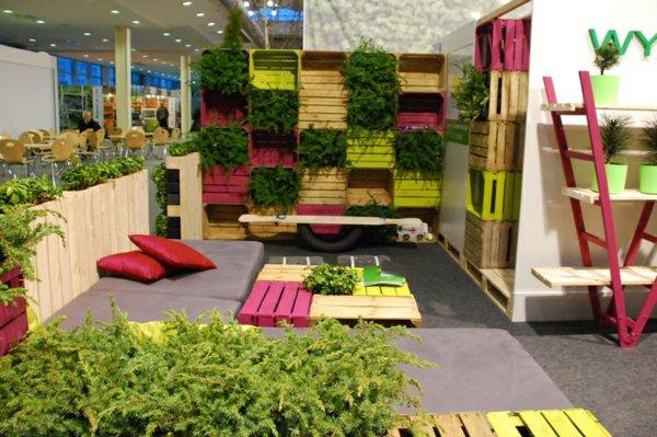 decoración terraza cajas madera