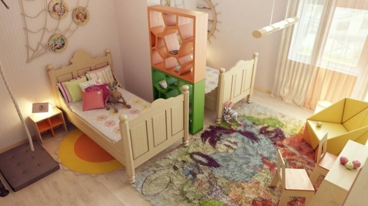 bonito diseño dormitorio dos camas