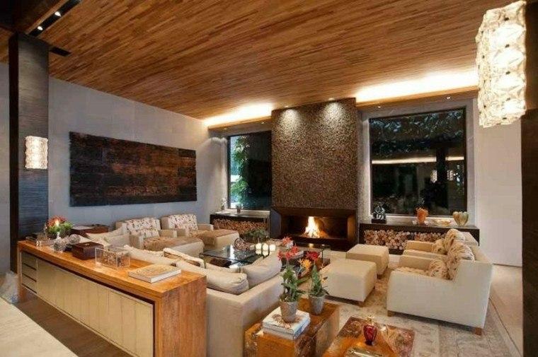 bonito salon techo moderno madera