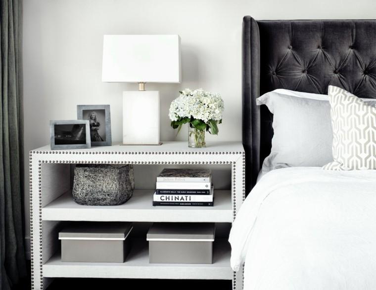 bonito diseño mesilla blanca adornos