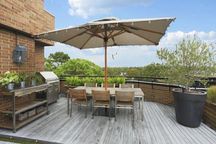 bonito diseño moderno terraza madera