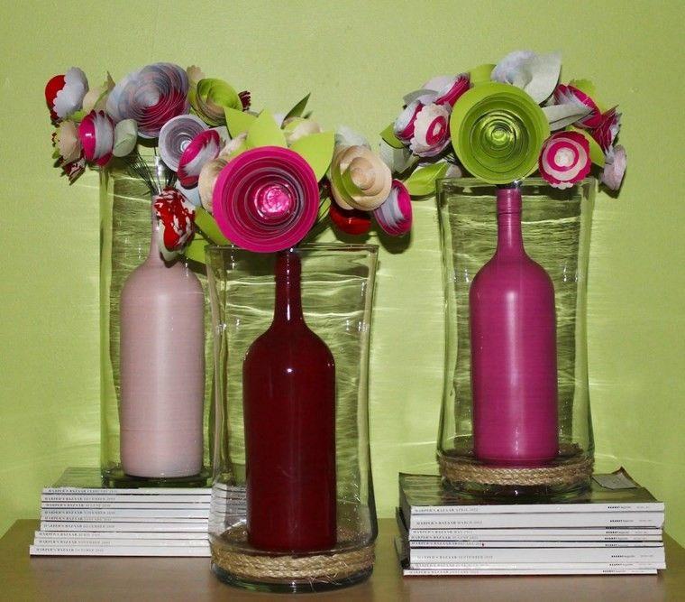 botellas de cristal flores papel preciosas ideas