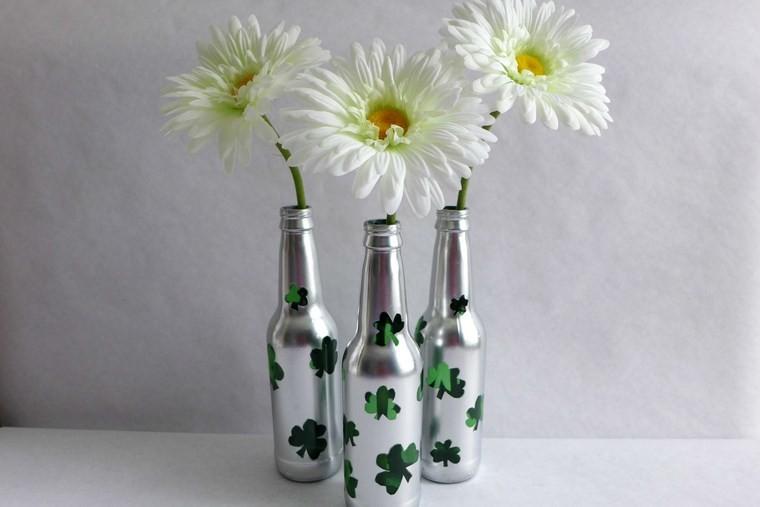 Botellas de cristal y tarros convertidos en jarrones 25 ideas