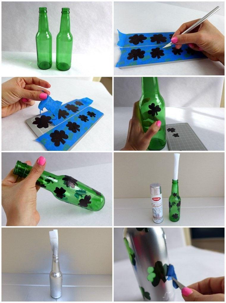 Botellas de cristal y tarros convertidos en jarrones 25 - Decorar botellas de cristal ...