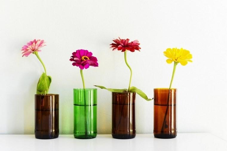 botellas plastico recortadas convertidas jarrones ideas