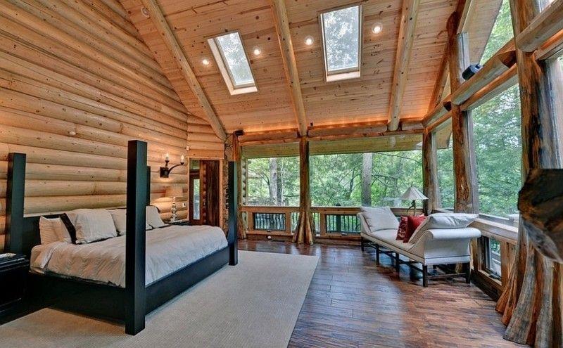 Decoracion de dormitorios rusticos madera y piedra for Diseno de interiores de cabanas
