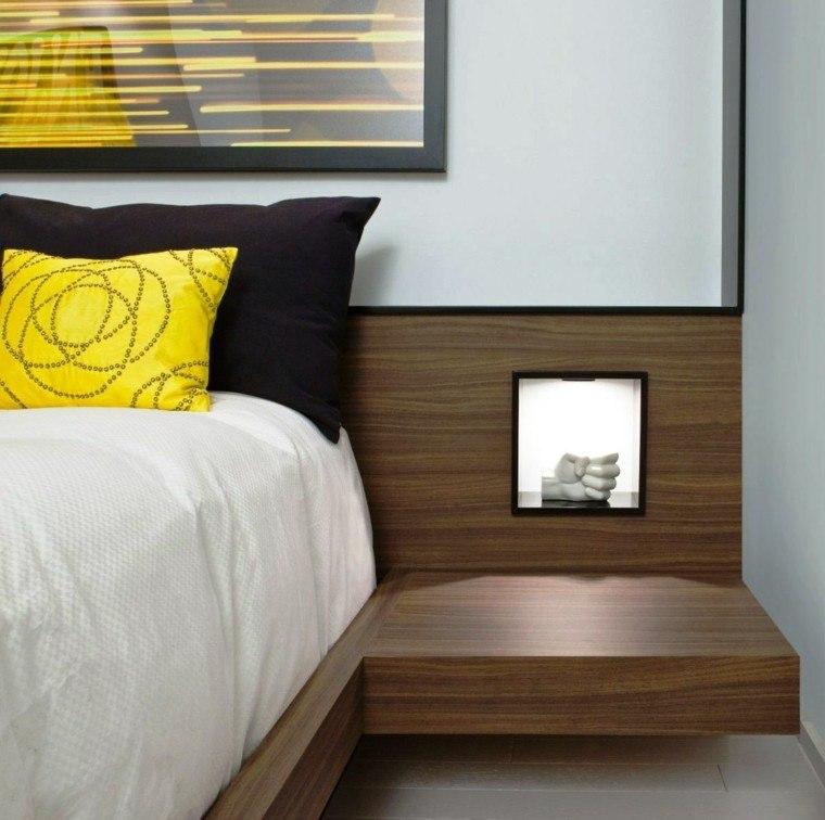cabecero cama mesilla madera laminada