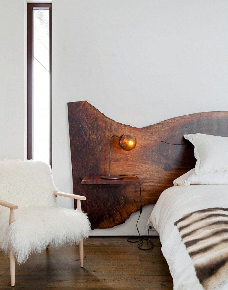 cabecero cama madera mesilla integrada