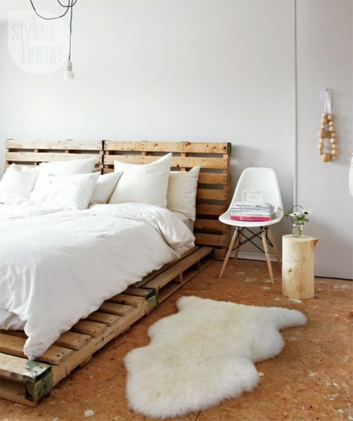 cama cabecero palets madera