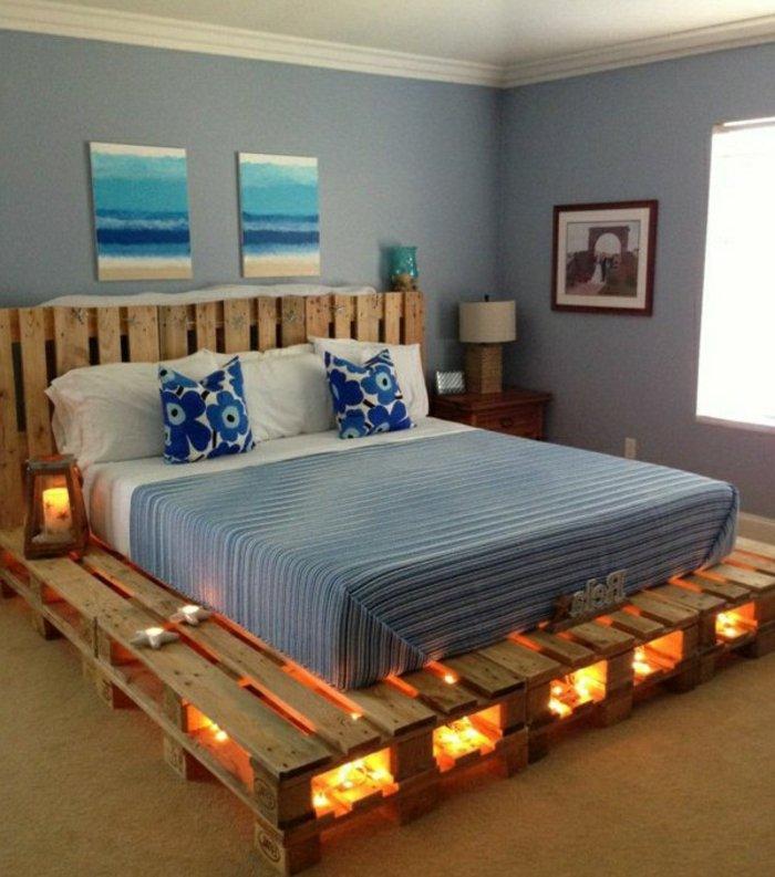cama moderna plataforma luces
