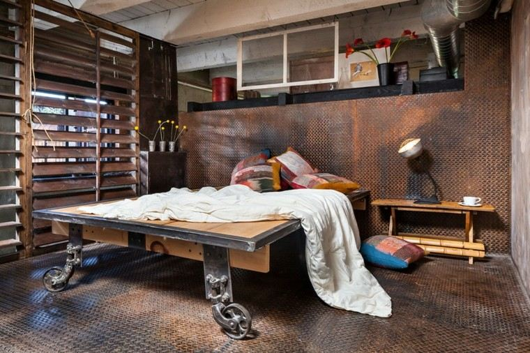 cama pared diseno industrial dormitorio ideas