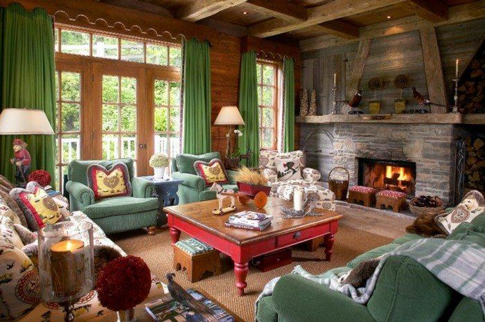 chimeneas rusticas de leña decorado ideas colorida cortinas