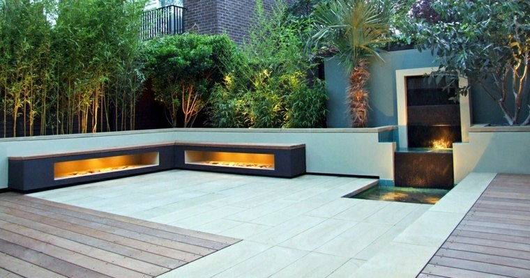 waterfall design terrace decorated fires