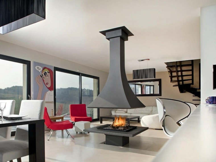chimenea madera salon negra moderna ideas