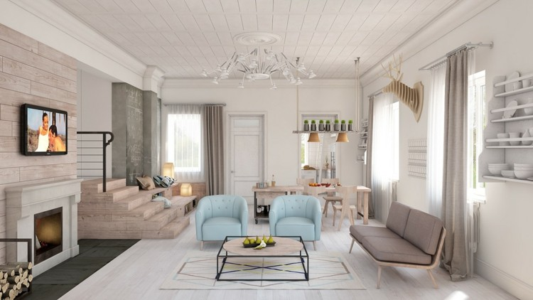 chimenea sillones cuadros mesas blanco