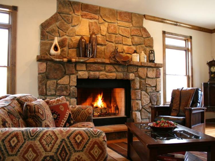 chimeneas de obra rusticas madera salones calor