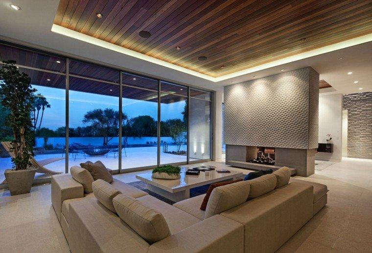 chimenea moderna salon amplio sofas preciosas ideas