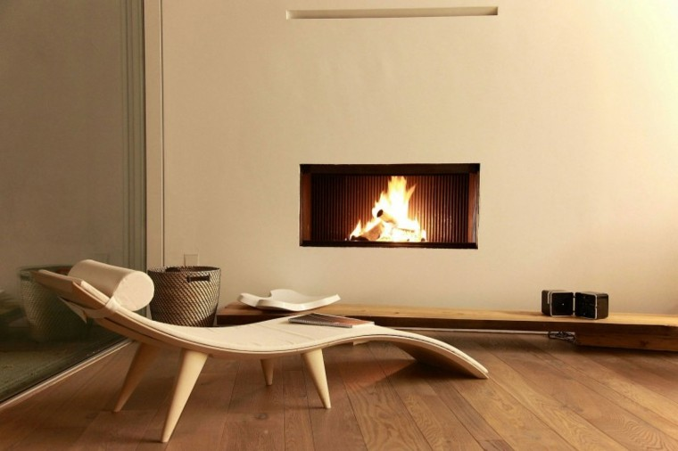 chimeneas modernas salon casa tumbona ideas