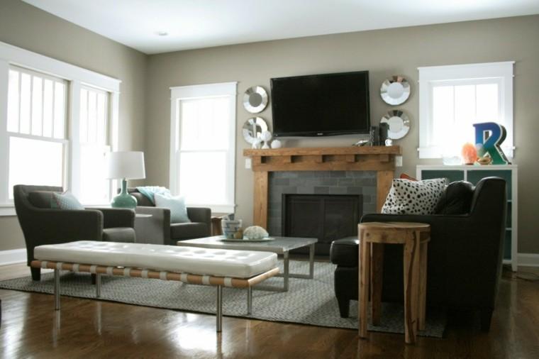 chimenea moderna salon muebles negros ideas