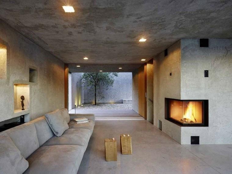 chimeneas modernas salon minimalista ideas