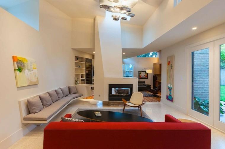 chimeneas modernas salon sofa rojo ideas