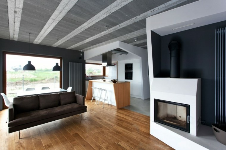 chimeneas modernas salon suelo madera ideas