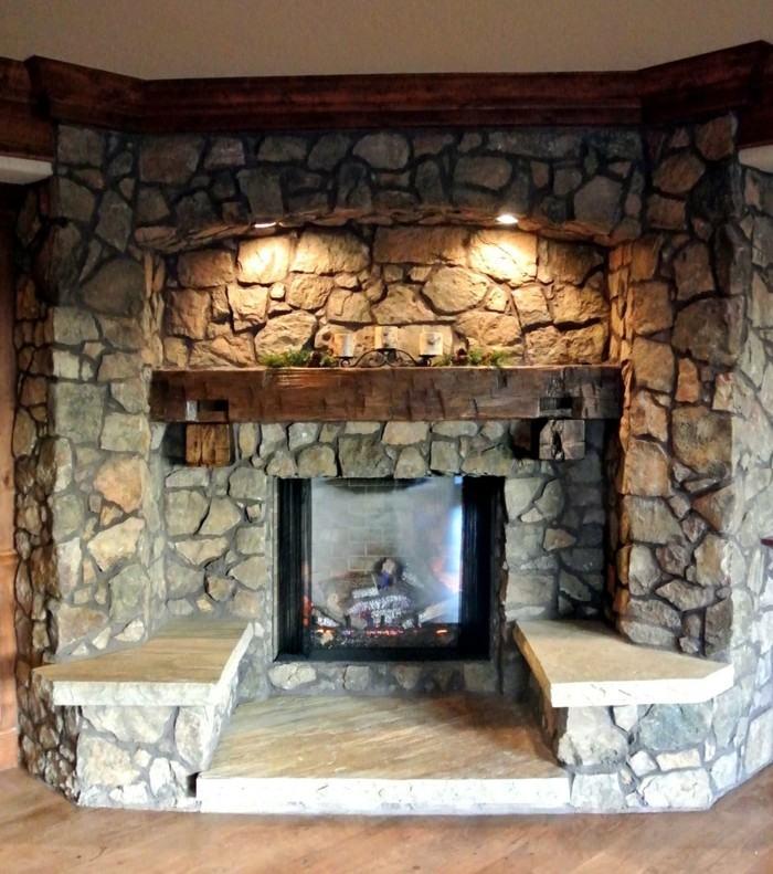 chimeneas rusticas de leña rocas madera plantas