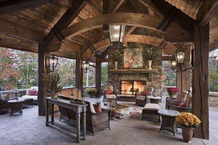 chimeneas rusticas ideas de salones al exterior
