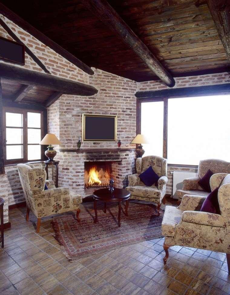 chimeneas rusticas fotos ladrillo ideas originales