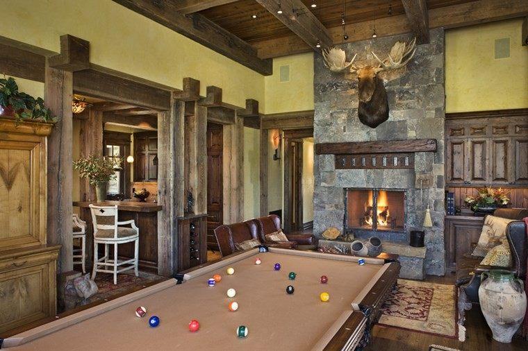 sala juego chimenea rustica salon original