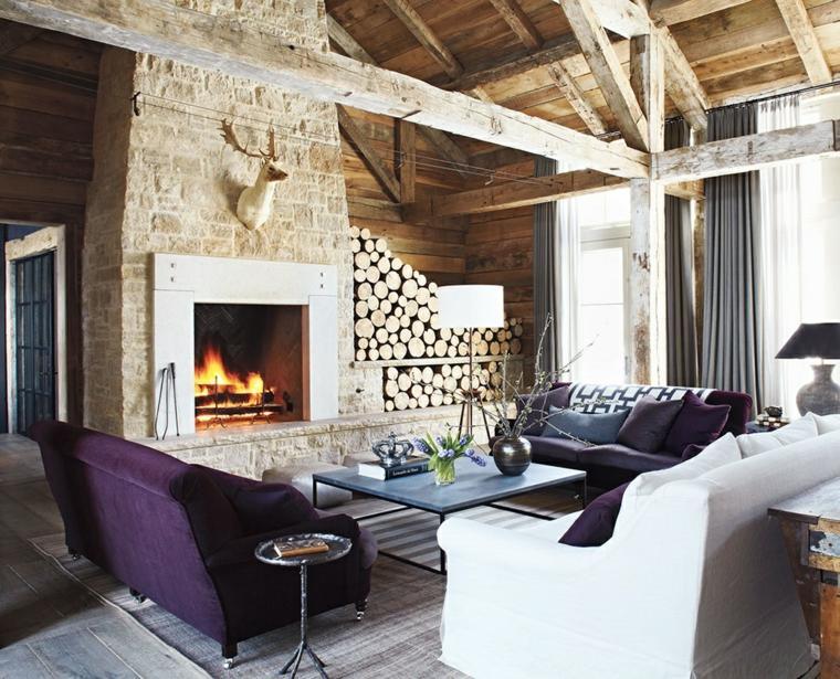 chimeneas-rusticas-fotos-salon-amplio-moderno