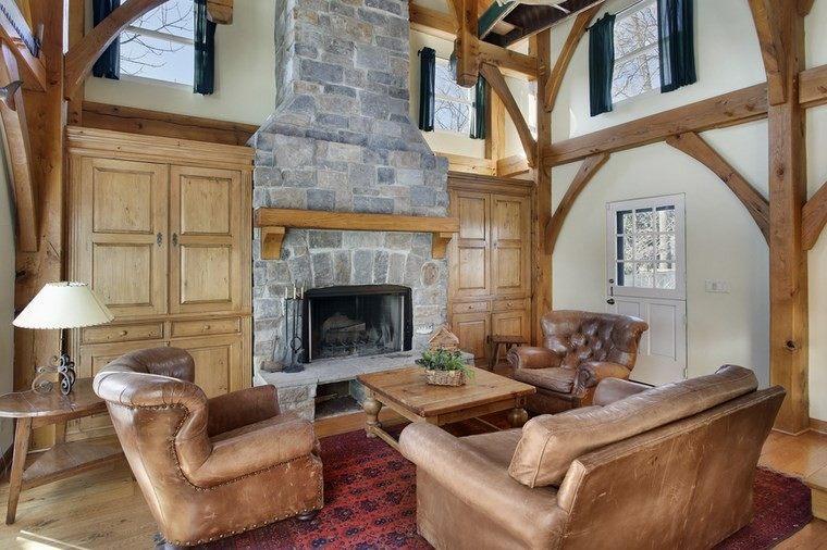 armarios madera salon chimenea rustica preciosa