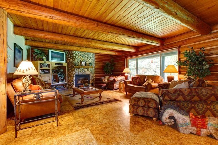 chimenea rustica foto suelo granito techo madera ideas