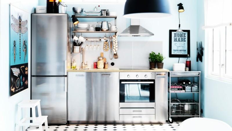 muebles cocina acero pared azul